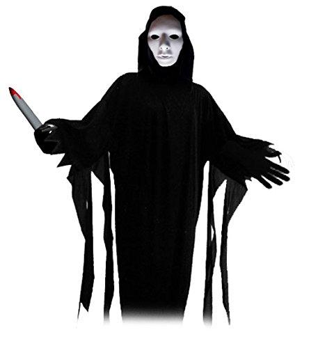 Venice Monster der lautlose Killer der Lagunenstadt Komplett Kostüm Halloween Horror Mega Verkleidungsset all inclusive Horror alles dabei Hammer mit Maske, Kutte, Handschuhen und (Verrückte Mörder Kostüm)