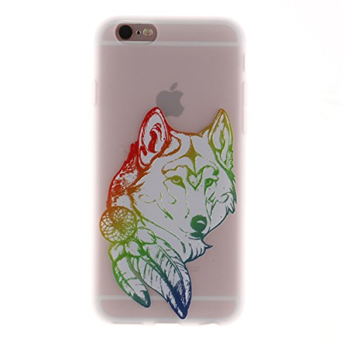 iPhone 6s Hülle,TPU Silikon Defender für iPhone 6,Ekakashop Bunte Campanula Muster Ultra dünn Slim Transparent Flexible Gel Crystal Klar Case Protective Schutzhülle Durchsichtig mit Niedliche Cartoon  Wolf
