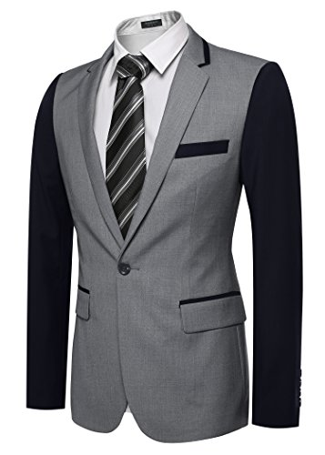 Aulei Herren Anzugjacke casual Smoking Sakko Männer Regular Fit Blazer Einknopf Jackett Grau