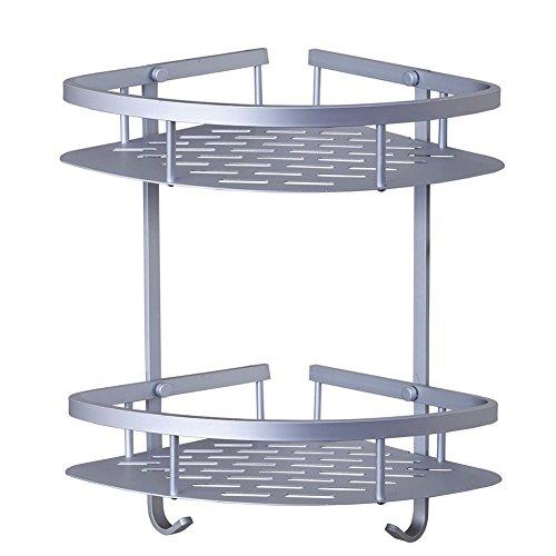 candora® Platz Aluminium Doppel-Dreieck Regal Badezimmer Ablagenetz Korb Winkel Regal Anhänger Korrosionsschutz Dusche Caddy Regal (Ziehen Draht-korb)
