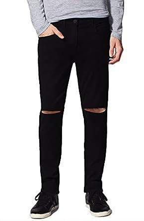 d965f5b3b9c ... Damler Men s Slim Fit Knee Cut Distressed Slit Ripped Black Jeans 664