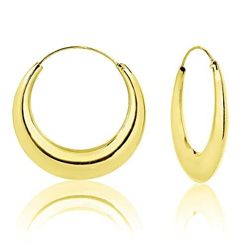 DTP Silver - Argento 925 Placcato in Oro 18k - Orecchini da donna extra spessi a Cerchio/Creoli - Spessore 5.5 mm - Diametro 40 mm