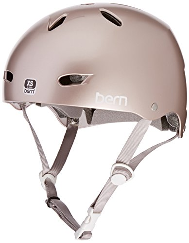 Features:Women's Bern helmetABS thin shell constructionEPS hard foam coreBern logo on the front of the helmetChin strap closureFully adjustable chin strap7 vent helmetLow profile designMaterials: ABS shell, EPS, textileBike/Skate/snow helmet