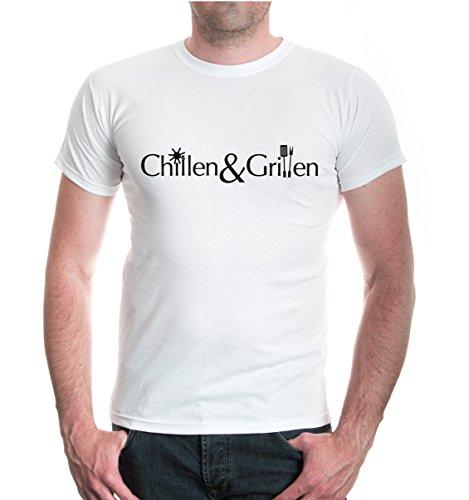 buXsbaum® T-Shirt Chillen & Grillen White-Black