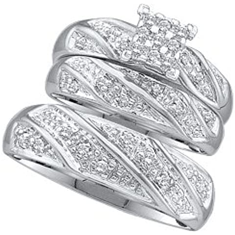 Hombre Mujer 10K oro blanco 0,27ct. Redondo Diamante Anillo De Compromiso Boda Novia Banda Trio Set