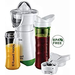 Russell Hobbs 21352-56 Mixeur Electrique Blender Presse Agrumes 600ml Mix and Go, Gourdes Adaptées au Transport Inclus