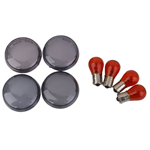 Lote de 4 bombillas para intermitente y 4 tulipas ahumadas para moto