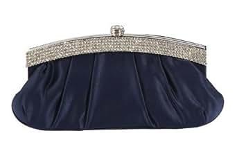 Bleu marine sac à main pochette satin sac à main plissé corps et bordure strass