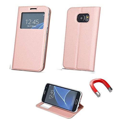 """BOOK CASE SMART LOOK FENSTER für Apple iPhone 6 Plus 5.5"""" iPhone 6 5.5"""" Cover Handy Tasche Flipcase Etui Buchform Kunststoff TPU Halterung für Kreditkarten (rosa) rosa"""