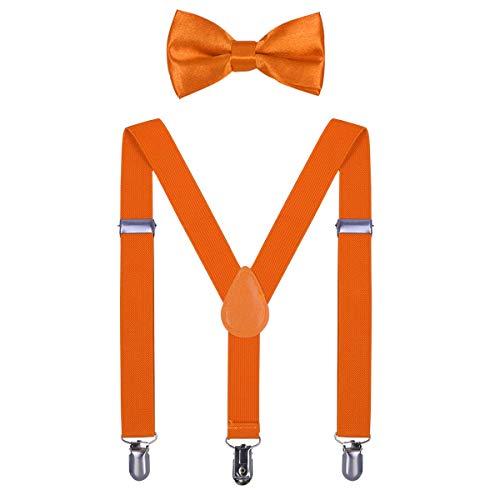 Welrog set di papillon per bambini - set di bretelle regolabili per ragazzi e ragazze (arancione fluorescente)