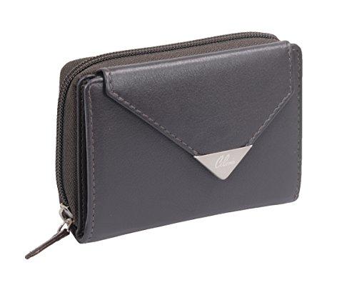 Porte-monnaie pour femme LEMONDO, cuir véritable, gris-brun 13x10cm