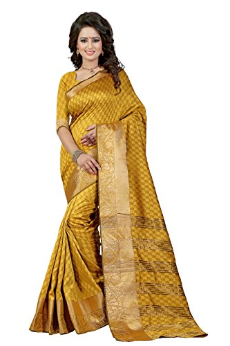J B Fashion Women's Cotton Silk Saree With Blouse Piece(sarees for women-RAJ BAHUBALI SAREES) (musterd)  available at amazon for Rs.899