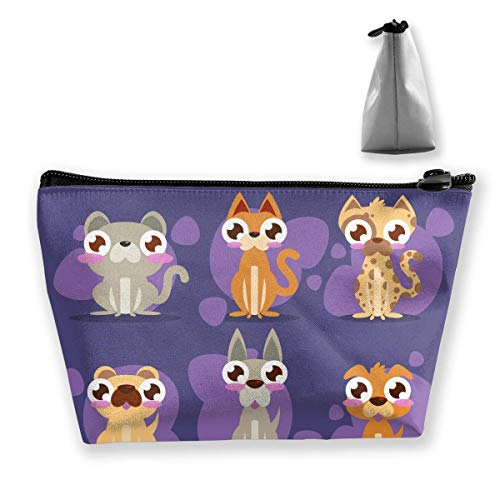 Cartoon Puppies and Kittens Flat Pack Women Cosmetic Bags Multifunktions-Kulturbeutel Organizer Travel Wash Lagerung (Trapez)
