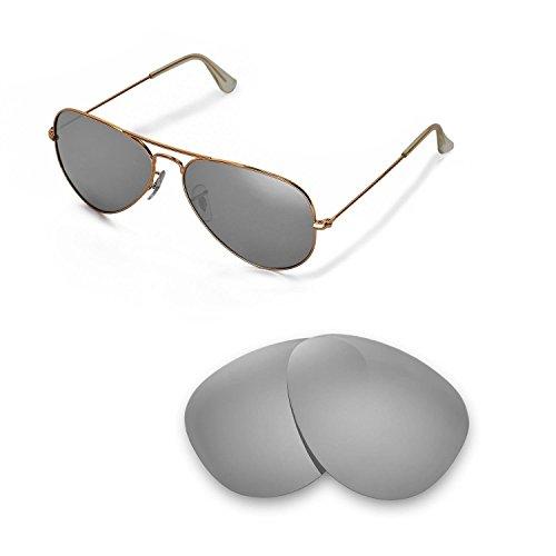 Walleva Ersatzgläser für Ray-Ban Aviator Large Metal RB3025 58mm Sonnenbrille - Mehrfache Optionen (Titan Mirror Coated - Polarisiert)