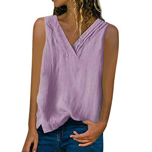 Muyise T-Shirt Shirt Weste Tank Tops Damen Sommer große größen einfarbig V-Ausschnitt lässig lose ärmellose Baumwolle Leinen Off-Schulter Bluse Oberteile(Lila,XXXXXL) -
