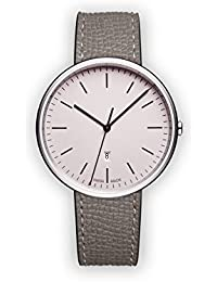 Uniform Wares M38 Quartz Watch with Pink Analogue Dial with Grey Leather Strap