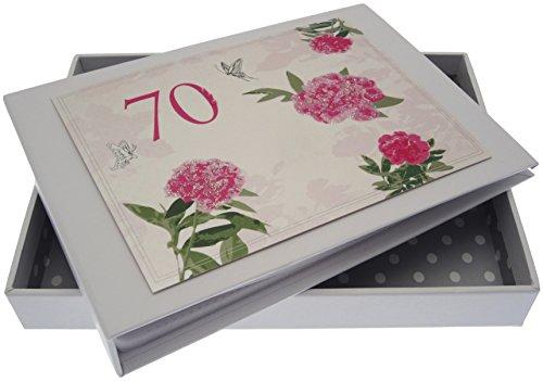WHITE COTTON CARDS Fotoalbum zum 70. Geburtstag, Motiv: Englische Rosen