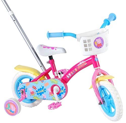 L&E 10 Zoll Fahrrad Peppa Pig Wutz Kinderfahrrad Mädchen Kinderrad Stützräder Pink