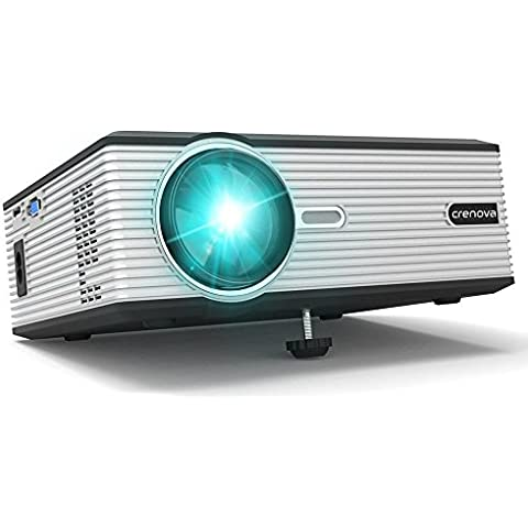 "Crenova Proyector XPE470 Mini Proyector 130"" Compatible Video HD 1080P a través de Unidad USB iPad iPhone para Películas en Casa - Negro"