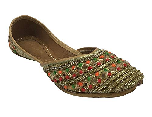 7a4715ff61533 Step n Style Punjabi Jutti Chaussures Ethniques à Perles pour Femme -  Multicolore - Multicolore, 39.5 EU
