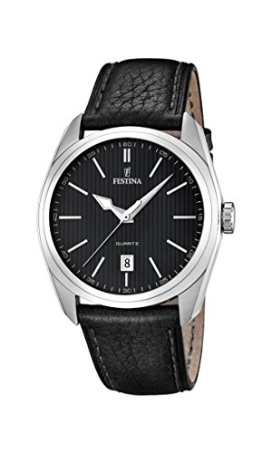 Festina Men's Quartz Watch with Black Dial Analogue Display and Black Leather Strap F16777/4