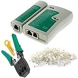 Uokoki 4 Stück Netzwerk-Kabeltester Detector Crimpzange Sets RJ45-Stecker Stecker-Netz-Abisolierzange
