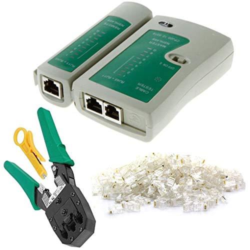 Laileya 4pcs Netzwerk-Kabeltester LAN-Netz-Reparatursatz Detector Crimpzange RJ45-Stecker-Stecker Abisolierzange -