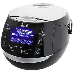 Yum Asia Sakura Cuiseur à riz avec bol en céramique et Micom Fuzzy Logic (YUM-EN15) 6 fonctions de cuisson au riz, 6 fonctions multicuiseurs, écran LED Motouch (1,5 litre) 220-240V (Noir et argent)