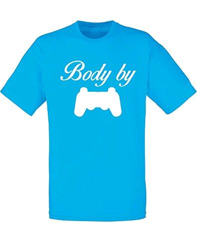 Body By Video Games, Mann Gedruckt T-Shirt - Azurblau/Weiß M = 96-101 cm