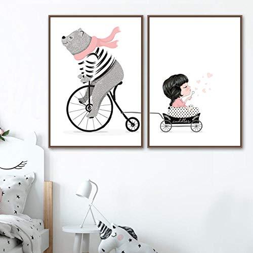 wymhzp Wandkunst Leinwand Malerei Cartoon Bär Mädchen Korb Warenkorb Poster und Drucke Tier Leinwand Kunst Wandbilder Kinderzimmer Dekor 40x60cmx2 Kein Rahmen -