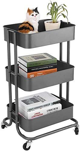 Dljyy Steel Storage Servierwagen mit 3 Stufen - höhenverstellbar for Küche, Badezimmer, Wohnzimmer, Büro, Beauty Institute Creme-Weiß (Color : Gris Fer)