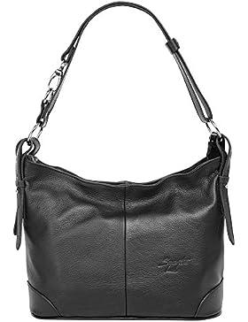 Samantha Look Umhängetasche schwarz echt Leder Umhängetasche, Crossover Bag, Handtasche