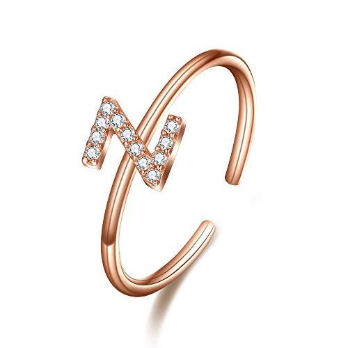 Clearine Damen Ring 925 Sterling Silber Zirkon verstellbare Premium Buchstaben Z Alphabet Ring in Klar Rosa-Gold-Ton