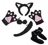 Petitebelle Black Cat Headband Bowtie Tail Gloves Shoes 5pc Children Costume (One Size)