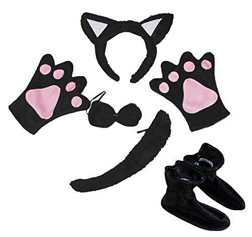 Black Kind Cat Kostüme (Cute Schwarz Cat Stirnband Schleife Schwanz Handschuhe Schuhe 5-teiliges Kostüm für Kind Party Gr. One size,)
