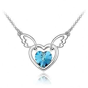 TTH Crystal Pendant Short Necklace [Angel From Heart, Aquamarine ] 18KGP