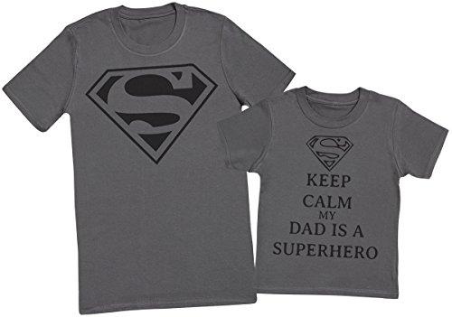 Keep Calm My Dads A Super Hero II - Passende Vater Kind Geschenk-Set - Vater T-Shirt und Kinder T-Shirt - Charcoal Grau - M & 5-6 Jahre (Super Erwachsenen T-shirt Hero)