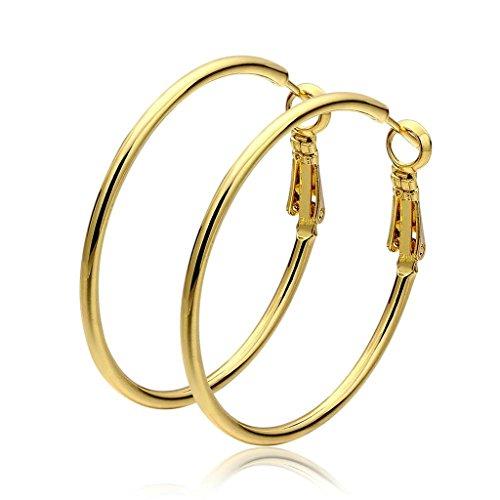 Beydodo 18K Vergoldet Überzug Ohrringe Damen (Tropfen-Ohrringe) Große Runde Form Umweltschutz Gold (Große Strumpfhosen Formen)