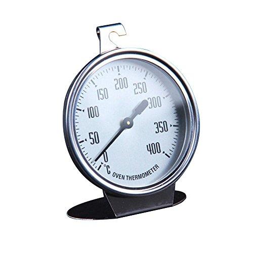 Poetryer Ofenthermometer zum Aufhängen und Hinstellen, Durchmesser: 7cm, Rostfreier Edelstahl, Silber/Weiß mit Großer Anzeige Backwerkzeug