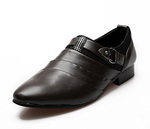 GLSHI Hommes Chaussures décontractées Chaussures en cuir à pointes britanniques Styliste à cheveux Tendance à la jeunesse Augmenter Chaussures Chaussures de mariage Blanc Noir Brun Brown