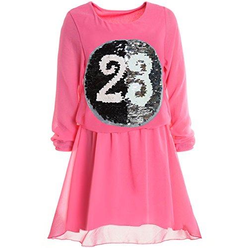 Traum Kostüm Feen - BEZLIT Mädchen Wende-Pailletten Frühlings Kleid Peticoat Fest Lang Arm Kostüm 21002 Pink Größe 140