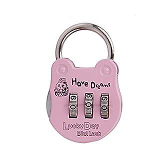 kangqi Mini Luggage Suitcase Gym Locker Password Lock Padlock(Pink)