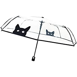 SMATI Paraguas plegable transparente - automático Antiviento - MUY Sólido (Gato)