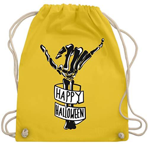 Halloween - Happy Halloween Skelett Hand - Unisize - Gelb - WM110 - Turnbeutel & Gym Bag (Unheimlich Halloween Happy)
