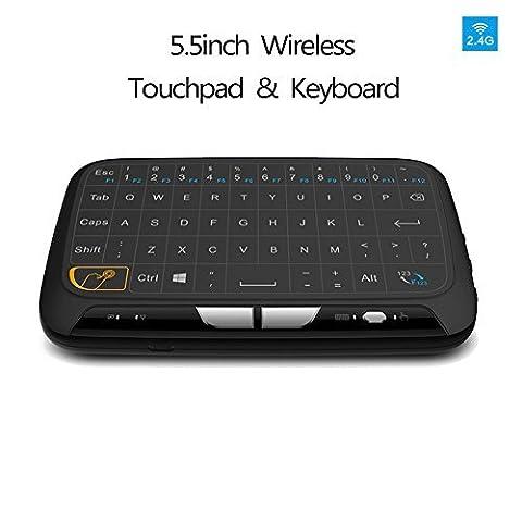 Tastatur Raspberry Pi, Mini Multimedia-Tastatur / H18 Keyboard mit Touchpad-Maus / 2,4Ghz Wireless / Schnurlos / Geeignet für Android TV Box, Smart TV, Stick HTPC, IPTV, Laptop, Raspberry PI PS3 (Schwarz)