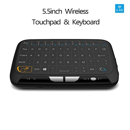 Mini Clavier Ergonomique sans Fil H18 Keyboard Raspberry Pi avec Pavé Tactile 2,4 GHz Wireless Combo Air souris Touchpad pour Android TV Box, PC, Tablet, PS3 Xbox, Smart TV, Mini PC, HTPC, Console, Ordinateur, Noir