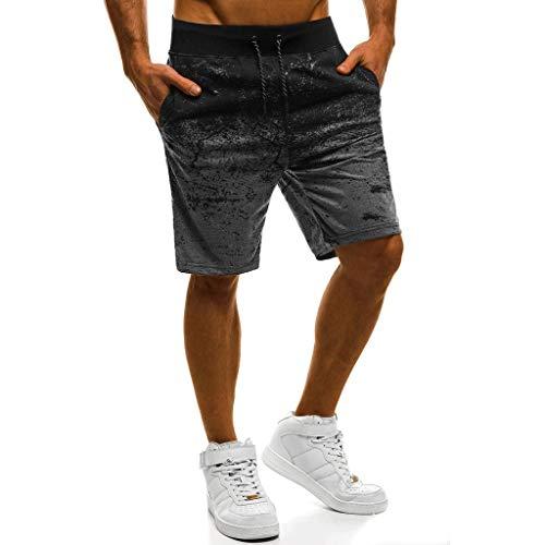 Sport Shorts Herren Sommer Strand Sea Surfen Kurze Hose Boxing Badeshorts Bermuda Running Fitness Gym Jogging Lightweight Training Shorts Baumwolle Qmber unordentliche Blumen Verlaufshose(DG,L)
