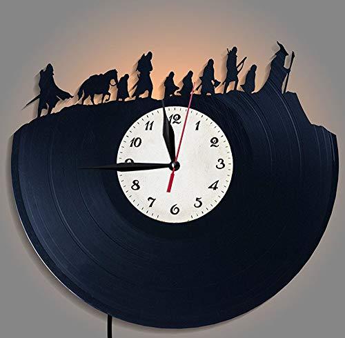 upnanren Hobbit Vinyl Record Orologio da Parete LED Night Light Lord of The Rings Orologio Creativo Orologio Il Signore degli Anelli