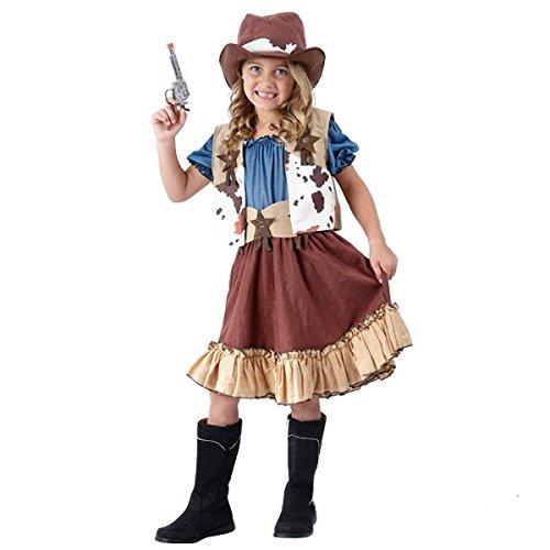 Cowgirl Kostüm Kinder - komplettes schickes Cowboy Western Kostüm Mädchen (122/128)