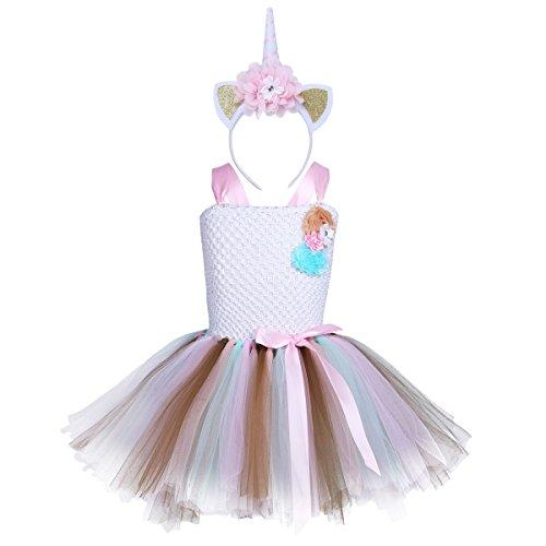 iEFiEL Einhorn Prinzessin Kostüm für Kinder - komplettes Einhorn Kostüm für Mädchen Kleid mit Einhorn Stirnband Zu Karneval Fasching Cosplay Kostüm Tütü Weiß + Rosa Haarreif 140-152